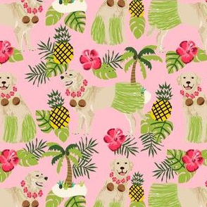 golden retriever dog hula fabric summer tropical design - blossom pink