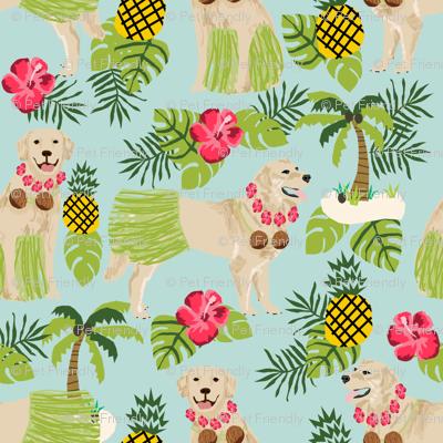 golden retriever dog hula fabric summer tropical design - light blue