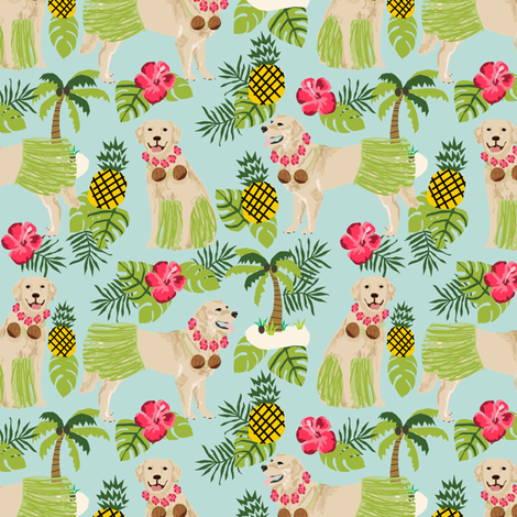 golden retriever dog hula fabric summer tropical design - light blue fabric by petfriendly on Spoonflower - custom fabric
