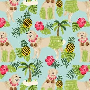 golden retriever dog hula fabric summer tropical design - light blue