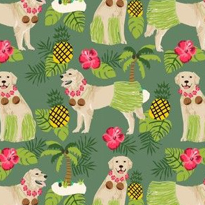 golden retriever dog hula fabric summer tropical design - medium green