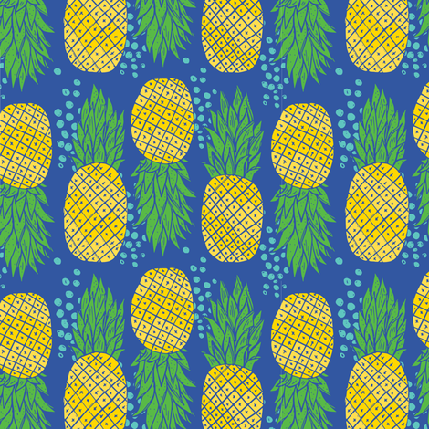 Pineapples with blue dots 2 fabric by jacquelinehurd on Spoonflower - custom fabric