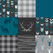 Fox and Deer Wholecloth Patchwork Quilt - blue, teal, black, grey, Buffalo Plaid, antlers, tribal arrows