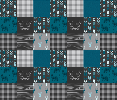 "3"" squares Fox and Deer Wholecloth Patchwork Quilt - blue, teal, black, grey, Buffalo Plaid, antlers, tribal arrows fabric by sugarpinedesign on Spoonflower - custom fabric"
