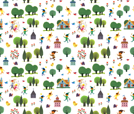 Alain Gree - Fun Forest with elf / elves - Fairy tail style from Vintage illustration fabric by ricobel on Spoonflower - custom fabric