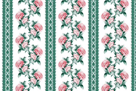 red roses and lace fabric by keweenawchris on Spoonflower - custom fabric