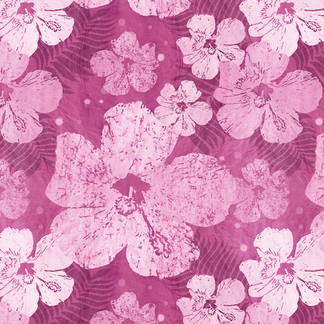 Hibiscus Flowers Pink and Burgundy fabric by linda_baysinger_peck on Spoonflower - custom fabric