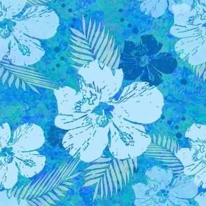 Hibiscus Flowers Blue Batik