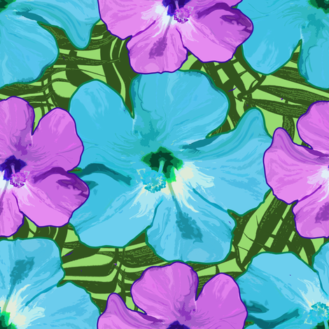 Hibiscus Flowers Blue Purple Green fabric by linda_baysinger_peck on Spoonflower - custom fabric
