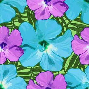 Hibiscus Flowers Blue Purple Green