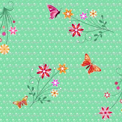Flowers with butterflies - Green
