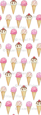 Pink Ice Cream Cones - 1 inch