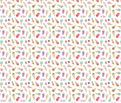 Ice Creams and Lollies - 1 inch fabric by hazel_fisher_creations on Spoonflower - custom fabric