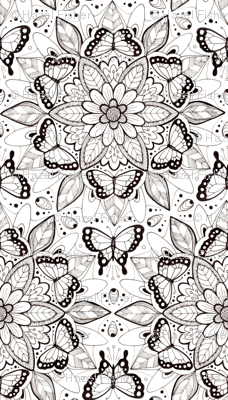 Butterfly Mandala - black and white (smaller version)