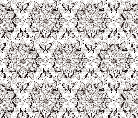 Butterfly Mandala - black and white (smaller version) fabric by hazelfishercreations on Spoonflower - custom fabric