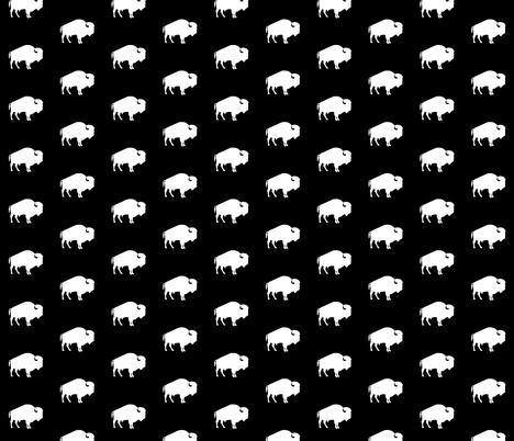 white buffalo on black fabric by speakeasyworks on Spoonflower - custom fabric