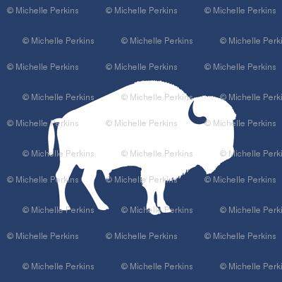 white buffalo on blue