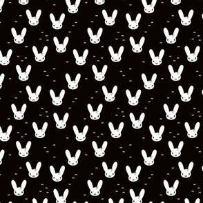 Super cute baby bunny sweet bow rabbit illustration print for kids black and white XS