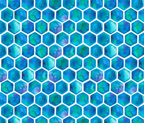 Turquoise and Green Watercolour Hexagons fabric by elena_o'neill_illustration_ on Spoonflower - custom fabric