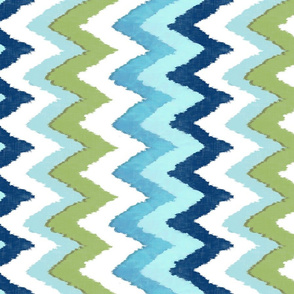 Watercolor Ikat Chevron in Green and Blue Fusion / railroaded