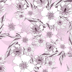 Silky Floral Blush Pink 300