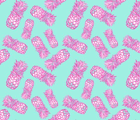 Pineapple dance  in Turquoise fabric by cecimasonart on Spoonflower - custom fabric