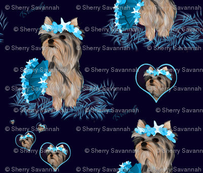 Yorkie -  Hearts, Bubbles & Seashells Matching C