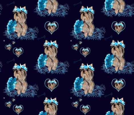 Yorkie -  Hearts, Bubbles & Seashells Matching C fabric by sherry-savannah on Spoonflower - custom fabric
