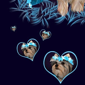 Yorkie -  Hearts, Bubbles & Seashells Matching C
