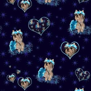 Yorkie - Heart, Bubbles & Seashells- Matching A