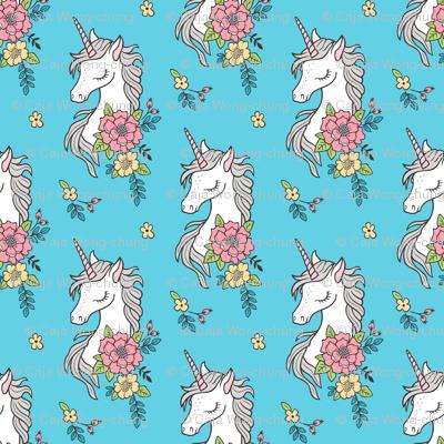 Dreamy Unicorn & Vintage Boho Flowers on Blue