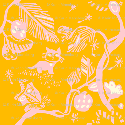 Cat and Moth large print in pink and yellow
