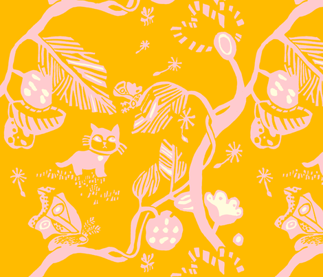 Cat and Moth large print in pink and yellow fabric by blockprintedart on Spoonflower - custom fabric