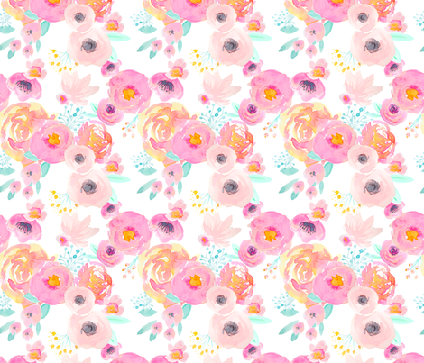 INDY BLOOM BLUSH Florals WHITE LIGHT_D fabric by indybloomdesign on Spoonflower - custom fabric