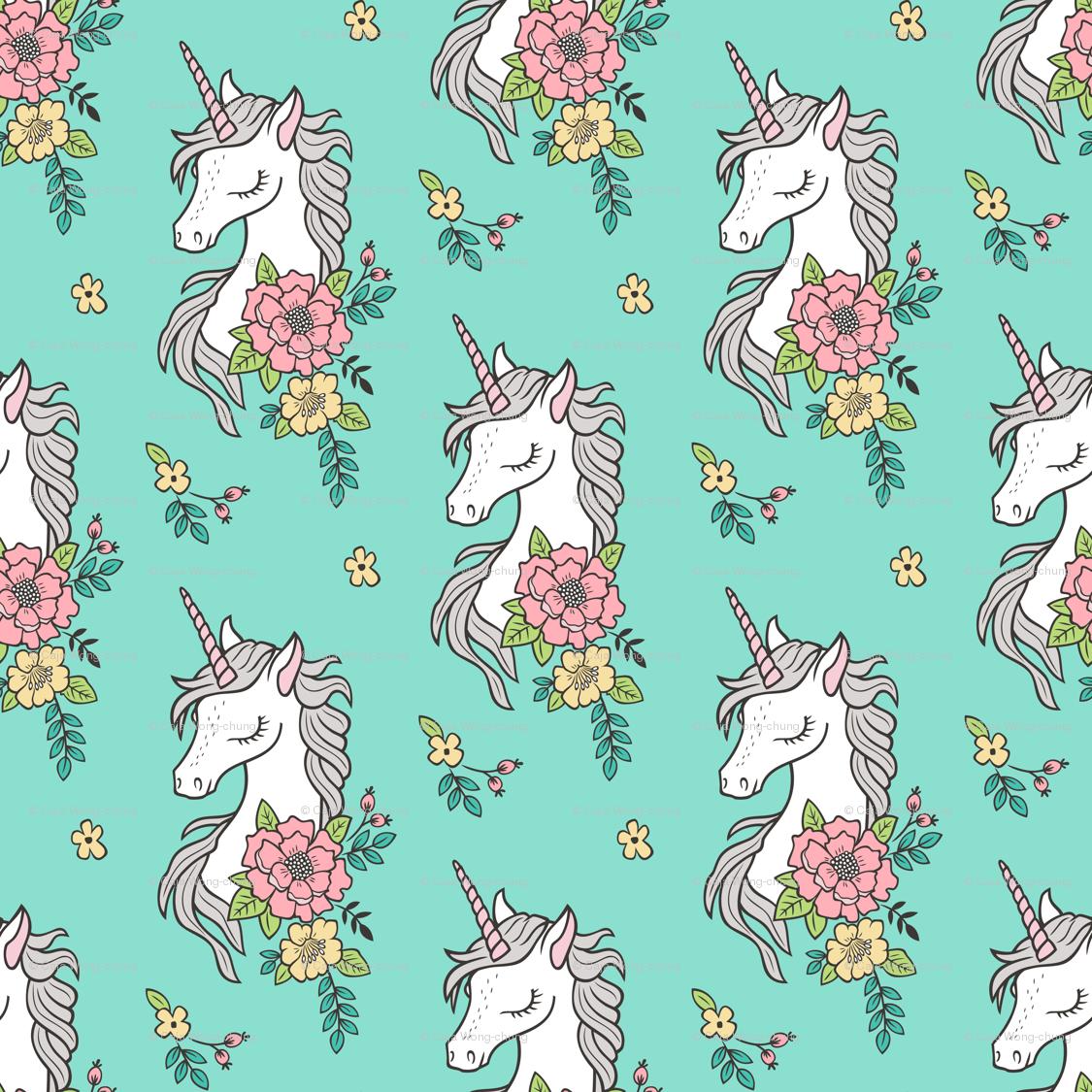 dreamy unicorn vintage boho flowers on mint green fabric