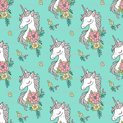 Dreamy Unicorn & Vintage Boho Flowers on Mint Green