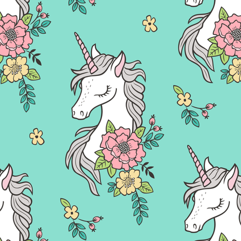 Dreamy Unicorn & Vintage Boho Flowers on Mint Green fabric by caja_design on Spoonflower - custom fabric