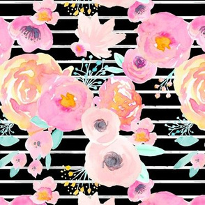 INDY BLOOM BLUSH FLORALS BLACK STRIPE