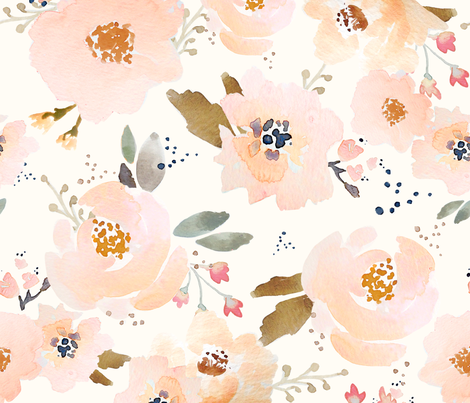 INDY BLOOM Peachy Blossoms B fabric by indybloomdesign on Spoonflower - custom fabric