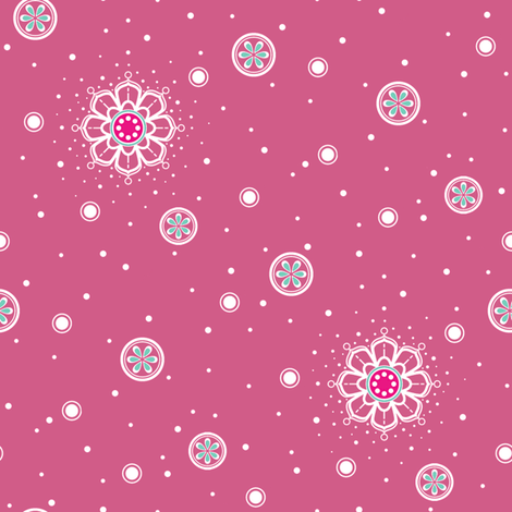 Pink_Mandala_Accents_2 fabric by woodmouse&bobbit on Spoonflower - custom fabric