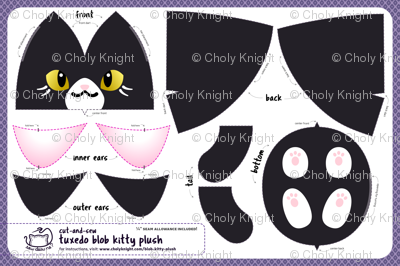 Cut & Sew Black Blob Kitty Plush