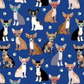 Chihuahua sunglasses summer dog fabric blue