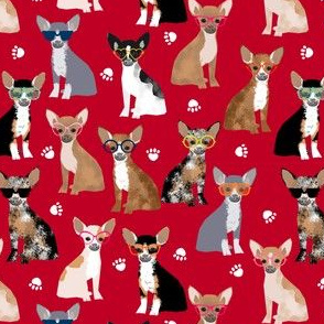 Chihuahua sunglasses summer dog fabric red
