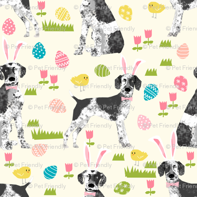 Custom german shorthair mix dog breed Easter dog fabric yellow