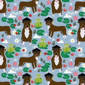 Pitbull frogs graduation dog breed fabric