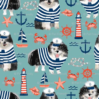 pomeranian fabric nautical merle pom design - blue