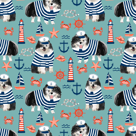 pomeranian fabric nautical merle pom design - blue fabric by petfriendly on Spoonflower - custom fabric