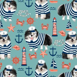 pomeranian fabric nautical merle pom design - blue