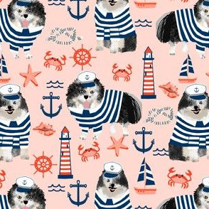pomeranian fabric nautical merle pom design - blush
