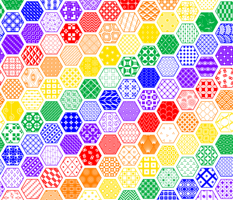 Rainbow Diagonal Hexagon Modern Cheater Quilt fabric by wickedrefined on Spoonflower - custom fabric